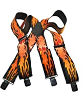 """Hold-Ups Flame Pattern 2"""" wide Biker Suspenders with Patented Jumbo no-slip Clips"""