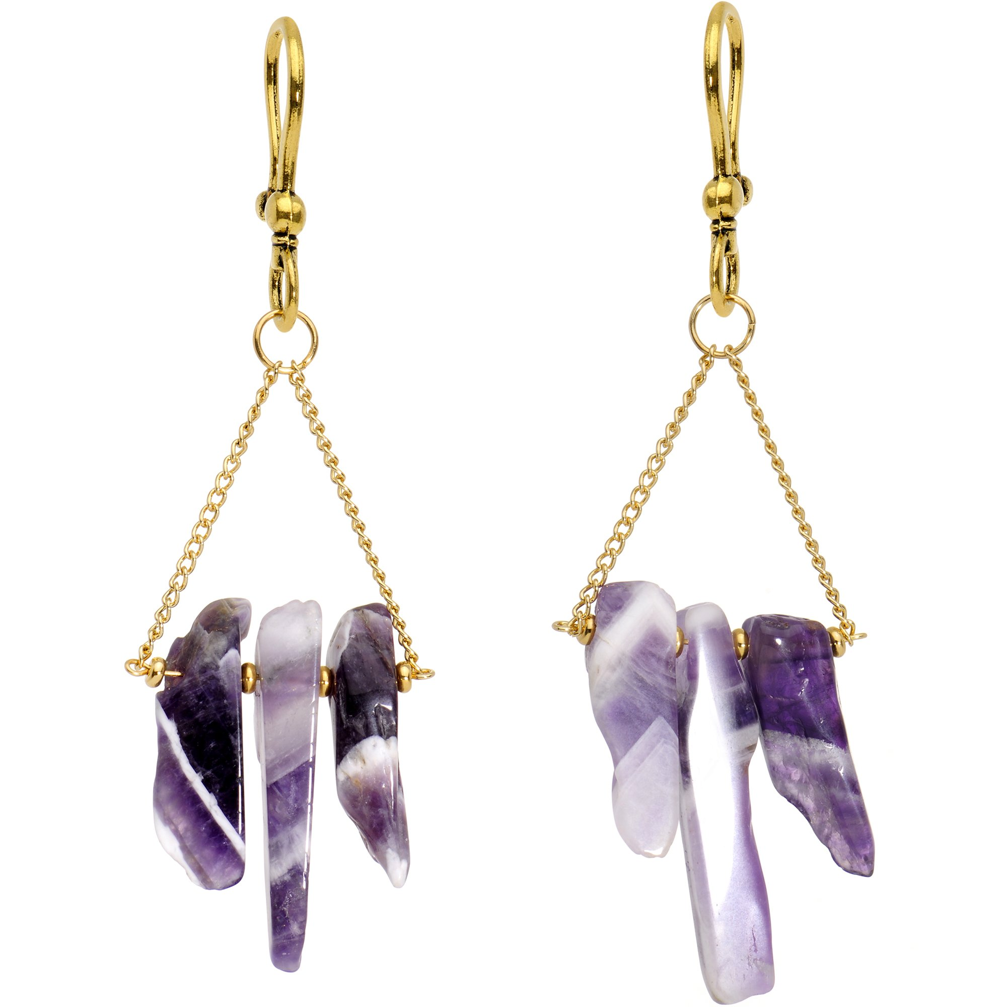 Body Candy Handcrafted Gold Plated Natural Amethyst Stone Ear Weights