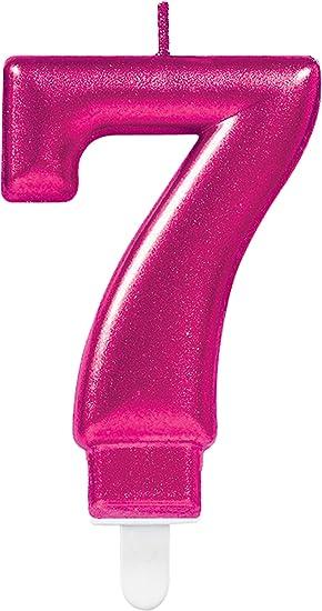 CARPETA® Número Vela * Número 7 * en rosa con ranuras ...