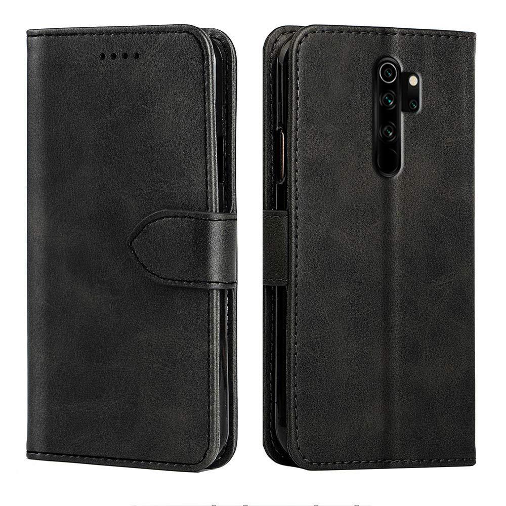 Negro Baiyian Funda de Cuero Cartera Flip Cover para Xiaomi Redmi Note 8 Pro