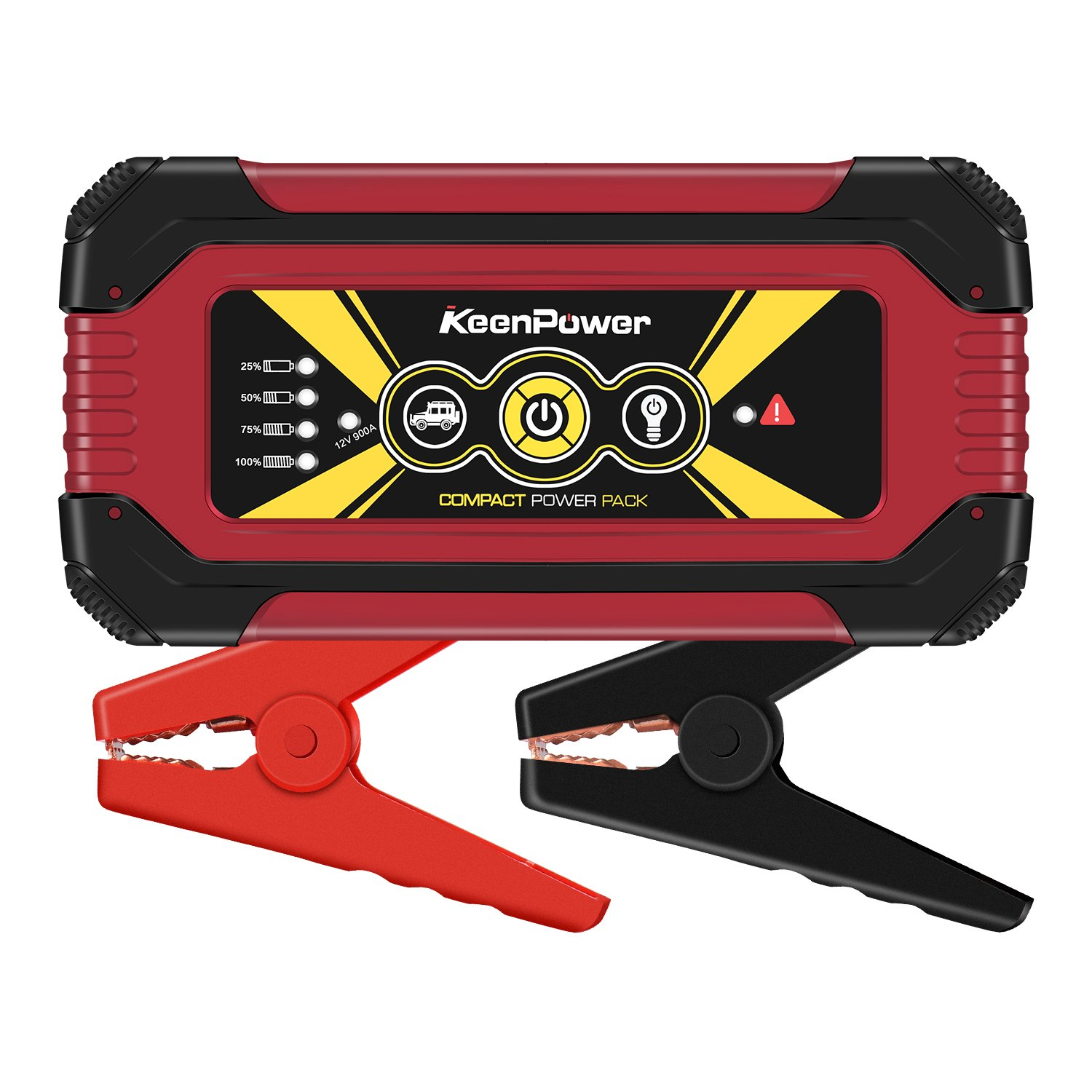 KeenPower Portable Car Jump Starter Emergency Battery Booster Pack Charging Outputs (Black/Red/Yellow) (Black) (900A RED) (900A RED)