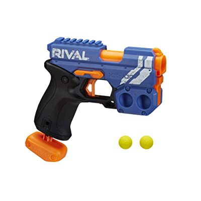 NERF Rival Knockout XX-100 Blaster -- Round Storage, 90 FPS Velocity, Breech Load -- Includes 2 Official Rival Rounds -- Team Blue: Toys & Games