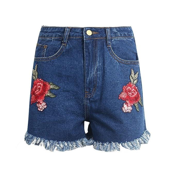 dangyin Bordado Flor Cintura Alta Pantalones Cortos ...