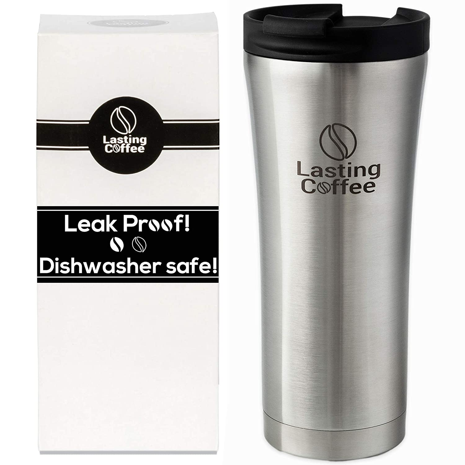 Lasting Coffee Leak Proof Dishwasher Safe Double Wall Vacuum Insulated Stainless Steel Travel Mug, 16 oz (Silver)