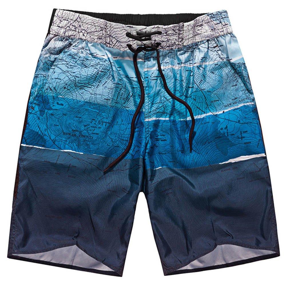 DORIC 2019 Men's Sweatpants Elastic Waistband Summer Shorts Sports Work Casual Printed Beach Shorts Pants Trousers Blue