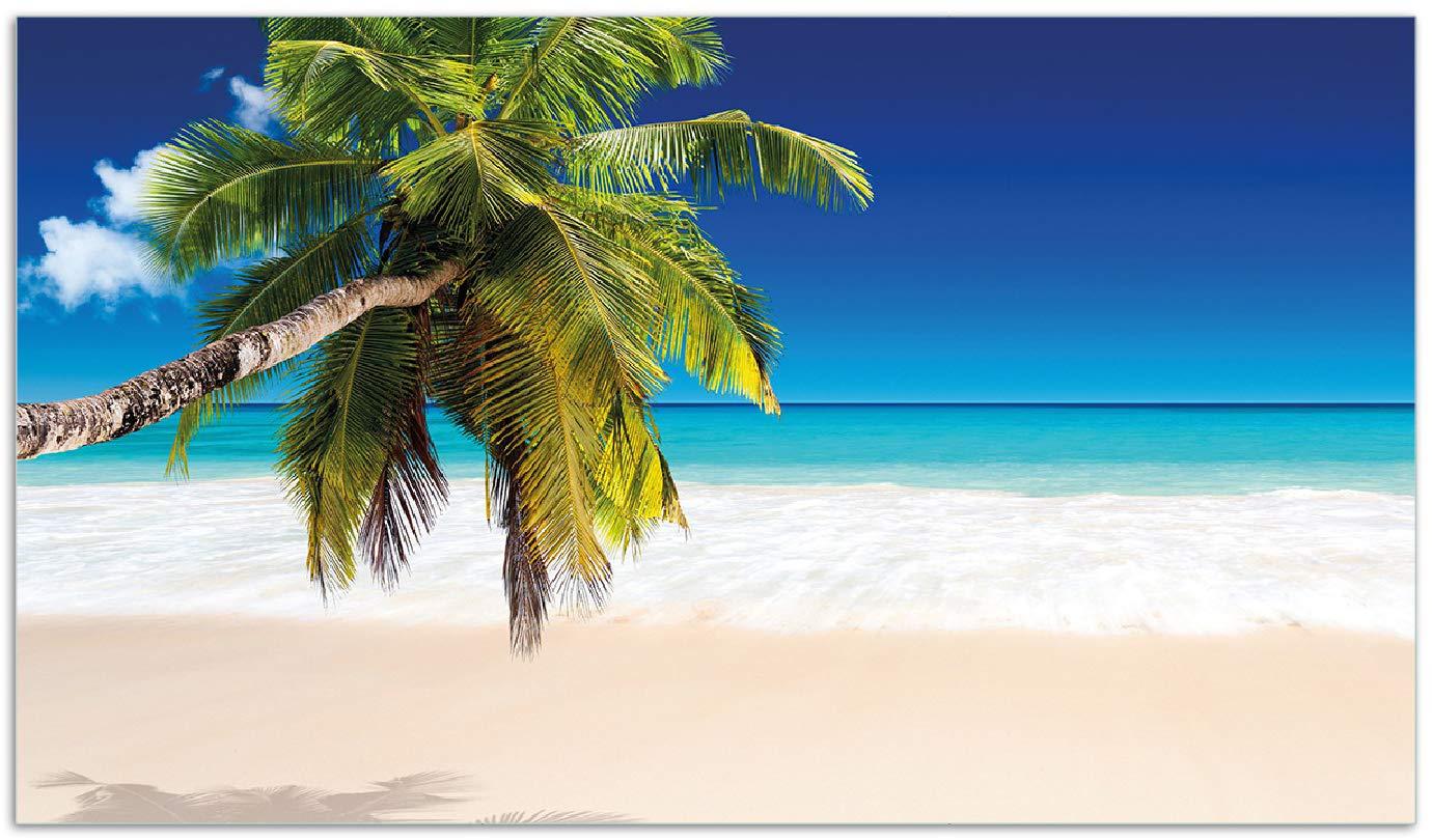Wallario Herdabdeckplatte/Spritzschutz aus Glas, 2-teilig, 60x52cm, für Ceran- und Induktionsherde, Südseestrand in der Karibik mit Palme