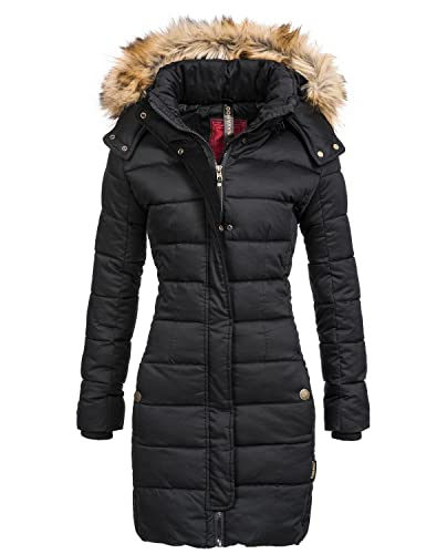 navahoo Jessica Edredón de invierno para mujer abrigo de piel sintética con capucha