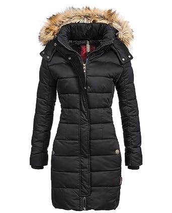 Abrigo Guateado extralargo de Invierno para Mujer con Capucha de Pelo sintético Navahooo Jessica Negro XL: Amazon.es: Ropa y accesorios