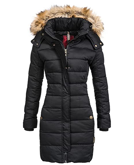 Navahoo Jessica Ladies' Winter Puffer Coat with Faux Fur Hood Black size XS