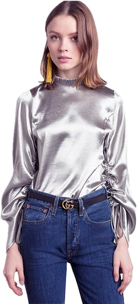 Brillo Metalizados Cuello Alto Subido Lazo Frunces Fruncido Sleeve Manga Larga Blusón Blusa Camisero Camiseta Camisa Top Plateado 2XL: Amazon.es: Ropa y accesorios