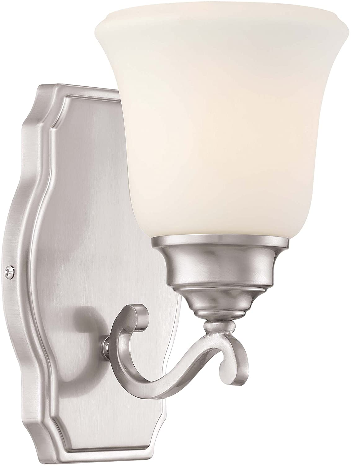 Minka Lavery Wall Light Fixtures 3321-84 Savannah Row Wall Bath Vanity Lighting, 1-Light 100 Watts, Brushed Nickel
