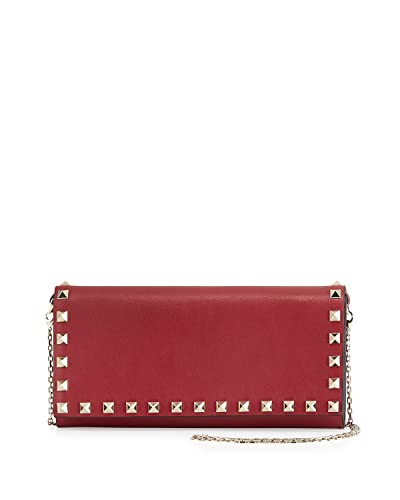 c1c468ccee Valentino Rockstud Wallet on a Chain Leather Bag Red Authentic: Handbags:  Amazon.com
