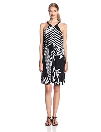 Adrianna Papell Women's Relaxed Maxi Dress with Dropped Armhole Detail, Black/White, Small