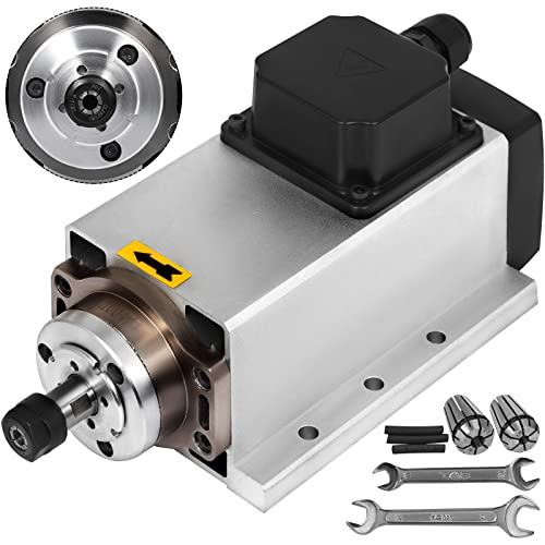Mophorn Spindle Motor 1.5KW Square Air Cooled Spindle Motor ER11 Collect 24000RPM 220V CNC Spindle Motor for CNC Router Engraving Milling Machine 1.5KW Air Cooled