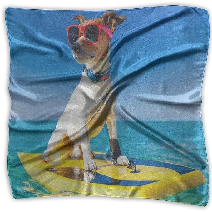 Bufanda cuadrada Perro fresco que practica surf en la tabla ...