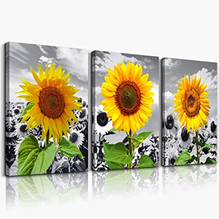 Amazon Com Yellow Sunflower Wall Art For Living Room Kitchen Wall Artworks Bedroom Decoration Black And White Landscape Canvas Prints 3 Piece Home Bathroom Wall Decor Posters Flowers Pictures Wall Painting Posters