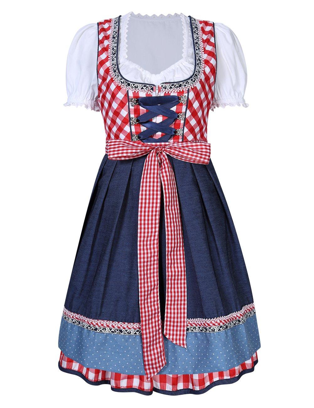 Leoie Kojooin Women's German Dirndl Dress 3 Pieces Oktoberfest Costumes Red Red plaid