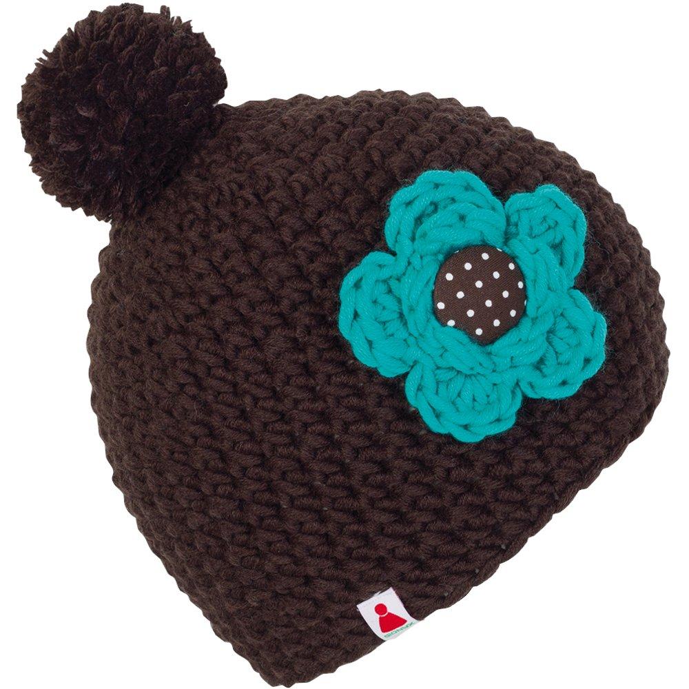 Sionyx SwapMe Beanie Mütze mit Blume und Knopf gehäkelt MIT Bommel in Handarbeit für Sport und Freizeit Damen Herren Unisex Bommelmütze