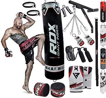 RDX Sacco da Boxe Pieno Arti Marziali MMA Sacchi Pugilato Kick Boxing Muay Thai con Guantoni Allenamento Catena Supporto Muro 17PC Punching Bag Set