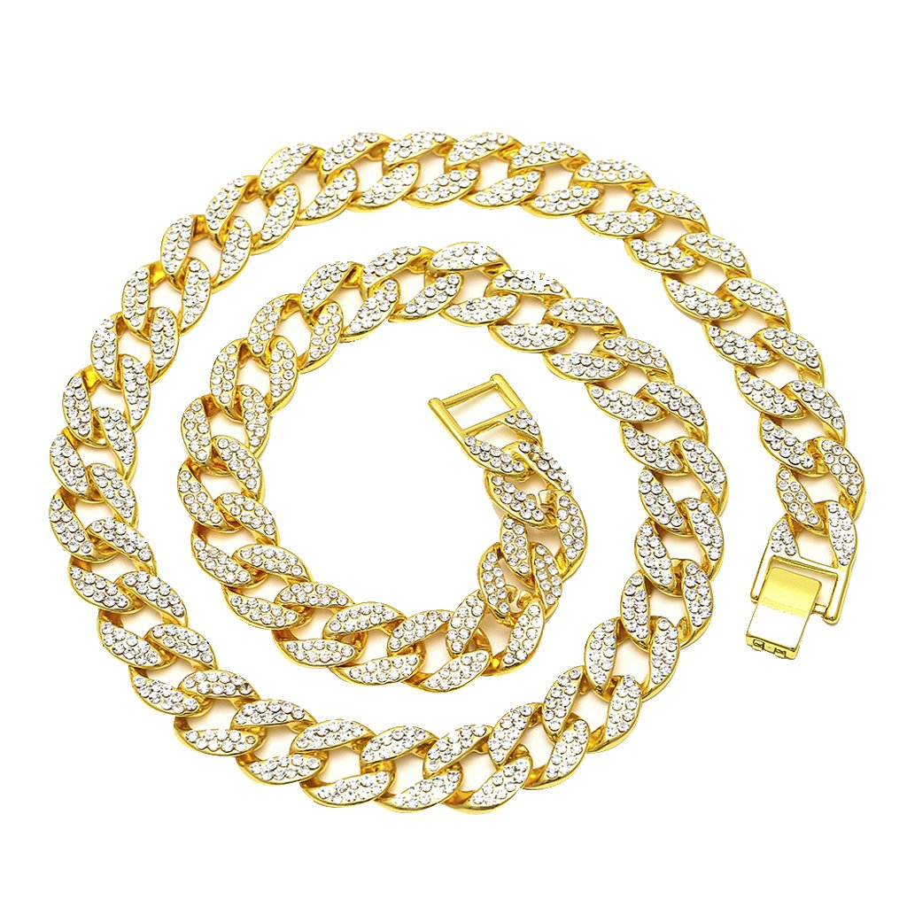 032dfc2cc1 Dovewill Mens 15mm Thick Heavy Iced Out 18K Gold Finish Cuban Link ...
