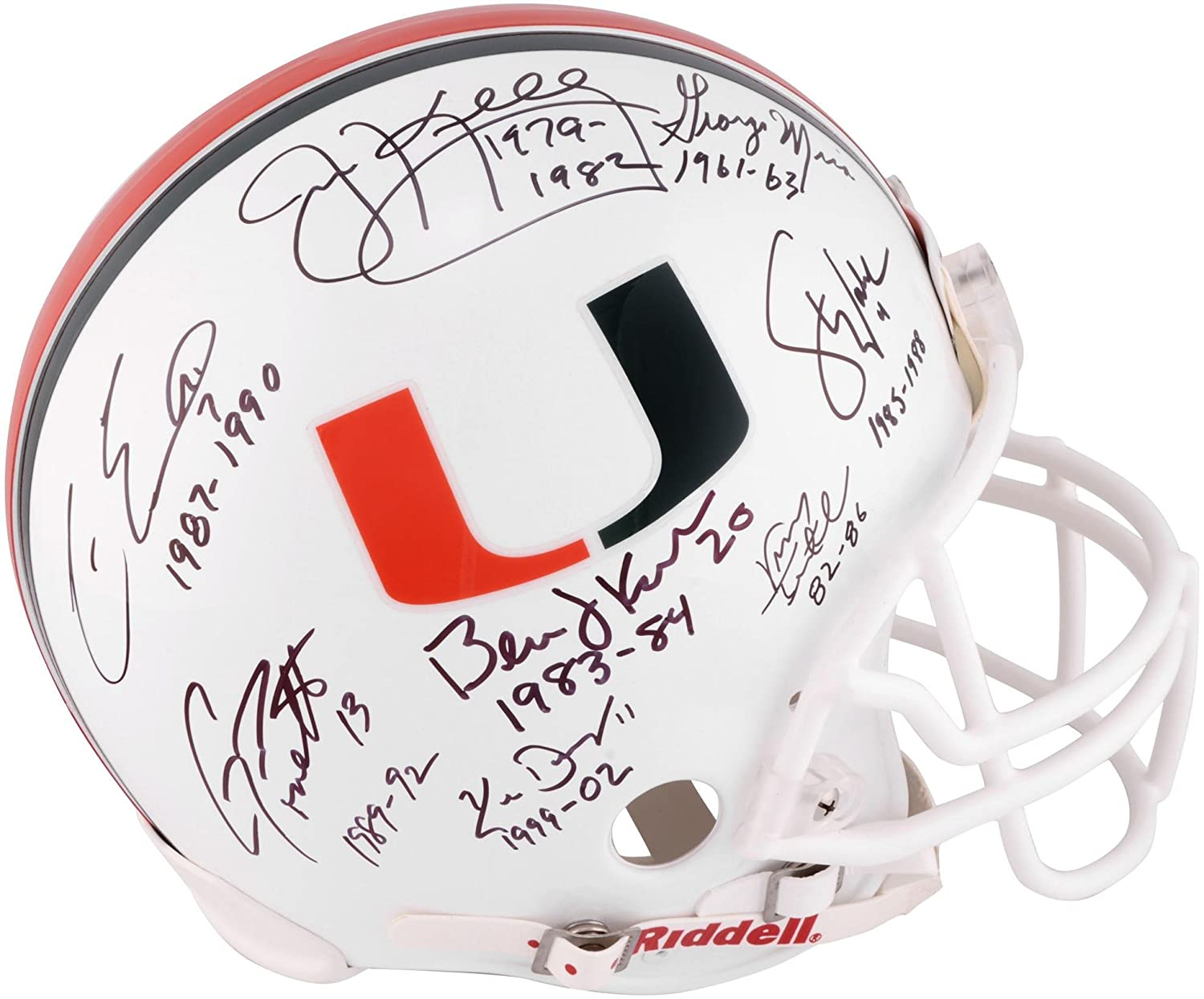 Amazon.com  Miami Hurricanes Multi-Signed Riddell Pro-Line Helmet with  Multiple Years Played Inscriptions - Fanatics Authentic Certified  Sports  ... 4d71abe58