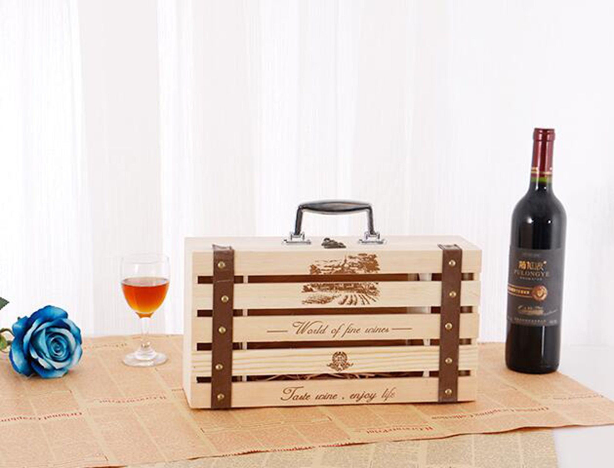 ALXDR Pine Wood Wine Wooden Box Double Bottle Wine Case Travel Storage Wine Carrier Special Displaying Decoration Case
