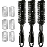 3 Pieces Razor Comb with 10 Pieces Razors, Hair Cutter Comb Cutting Scissors, Double Edge Razor, Hair Thinning Comb Slim…