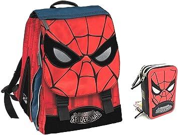 Mochila Hombre Araña Spiderman Extensible + Estuche 3 Pisos Completo + Llavero Silbato + 10 bolígrafos de Colores + marcapáginas: Amazon.es: Equipaje