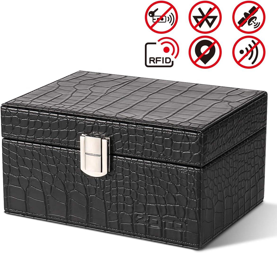 ZOTO caja de Faraday, caja de bloqueo de señal de llave de coche, llaves de coche, tarjetas de teléfonos, llamadas y funda de bloqueo de señal RFID, protector sin llave para seguridad