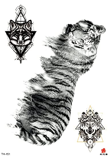 Amazon Com Tiger Wolf 8 25 Large Temporary Arm Tattoo Bracelet