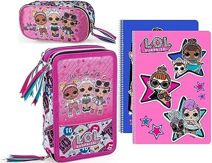 LOL Surprise – Estuche con 3 compartimentos rellenos para niña, estuche portatodo L.O.L. Para muñecas.: Amazon.es: Oficina y papelería
