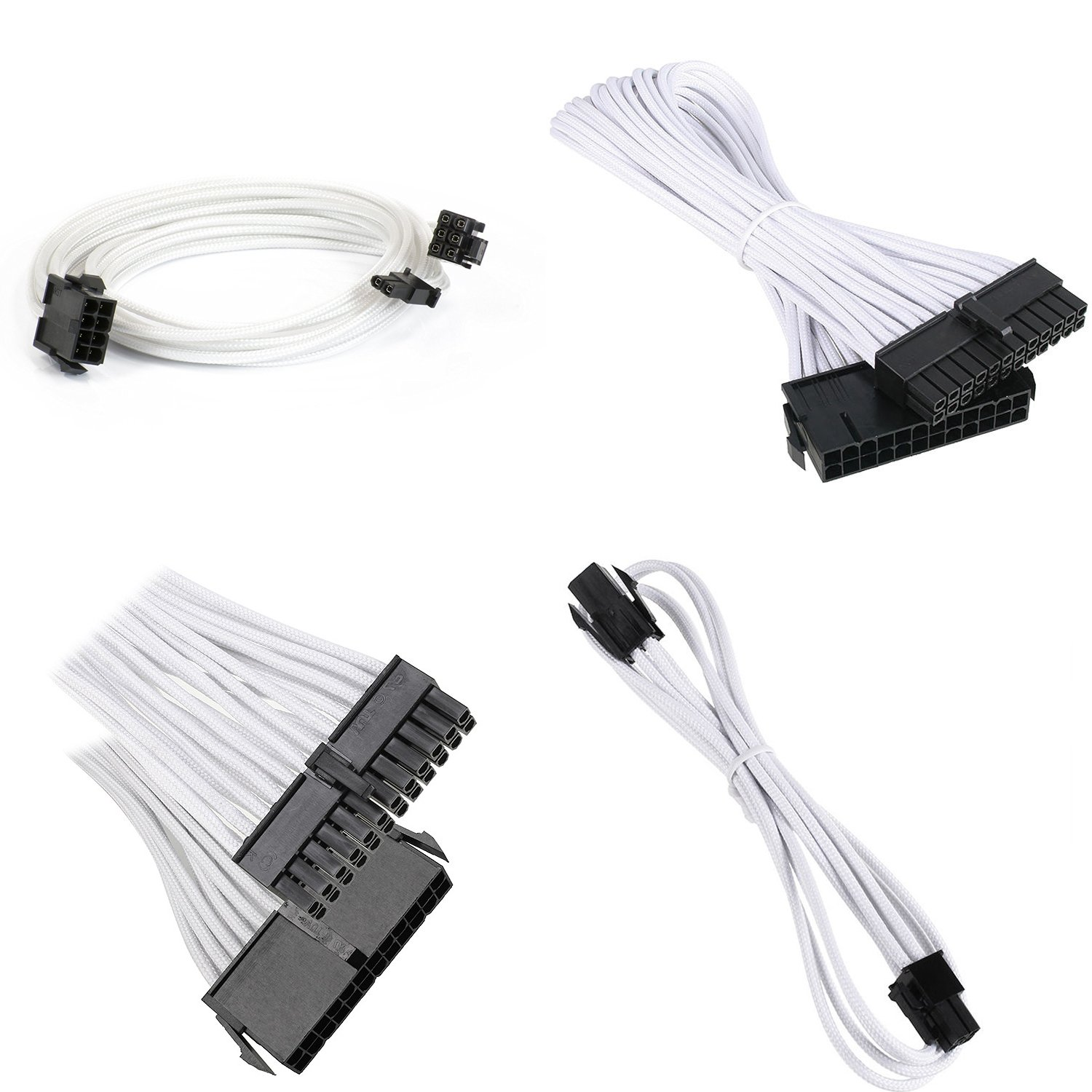6-Pin with Cable Comb 24 Pieces Set 24-Pin 8 Pin 6 Pack 6 Pin 4 4 Pin PSU Connectors White 8-Pin 24 Pin CloverTale Sleeved Cable White Braided ATX Sleeved Cable Extension Kit for Power Supply Cable Kit