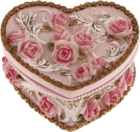 MagiDeal Caja de Joya de Estilo Corazón Rosas Flores Anillo Pendientes Resina para Boda Regalo para Boda: Amazon.es: Hogar