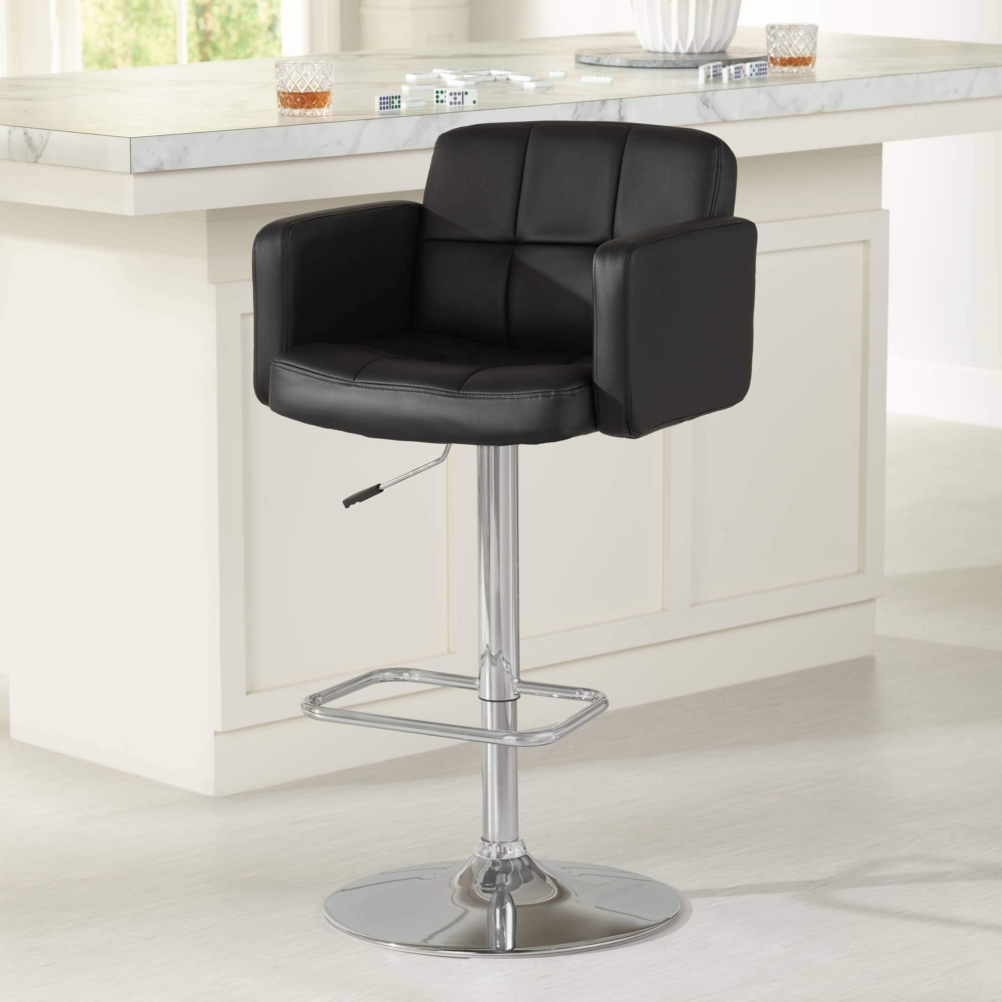 Trek Large Black Faux Leather Adjustable Swivel Bar Stool - Studio 55D by Studio 55D