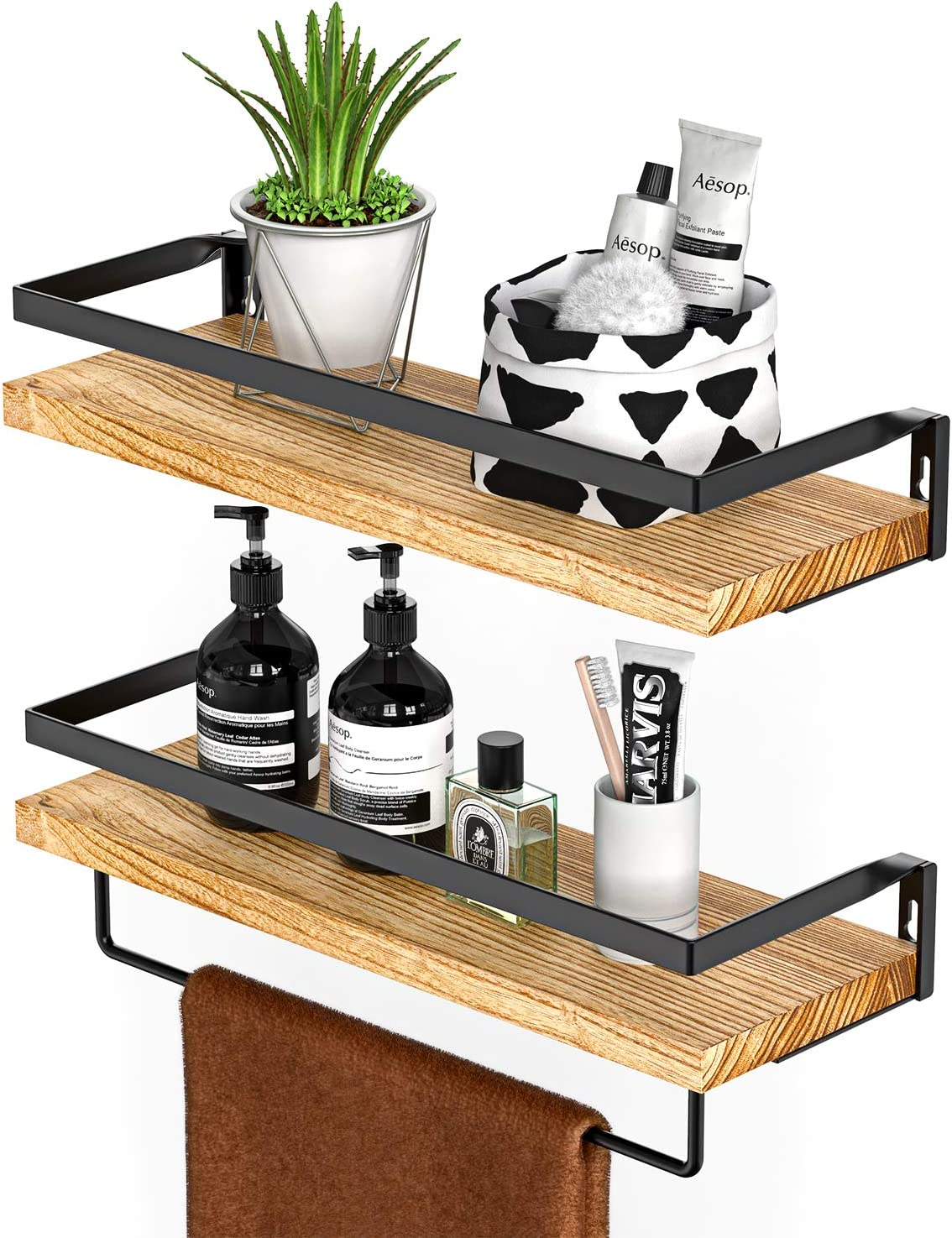 Amada Rustic Floating Shelves Wall Mounted, Solid Paulownia Wood Set of 2 for Kitchen, Bathroom, and Bedroom, Decorative Storage Shelf with Removable Towel Holder, Strong Black Metal Frame: Furniture & Decor