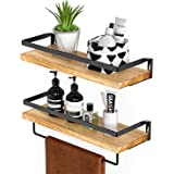 Amada Rustic Floating Shelves Wall Mounted, Solid Paulownia Wood Set of 2 for Kitchen, Bathroom, and Bedroom, Decorative Stor