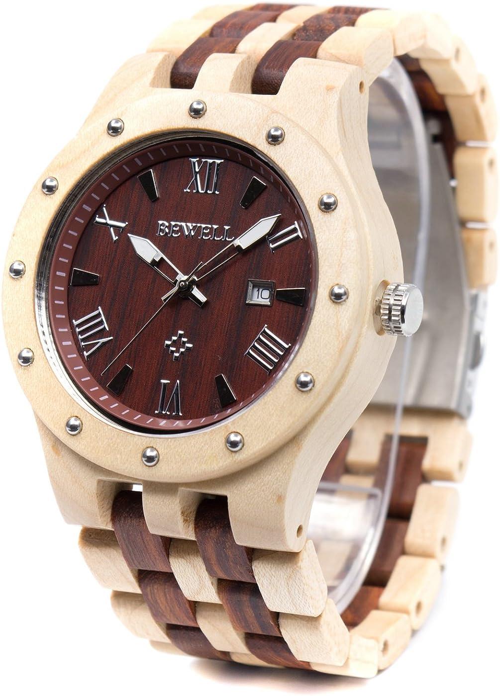 Bewell Men s Wooden Watches Handmade Date Display Analog Quartz Luminous Wristwatch
