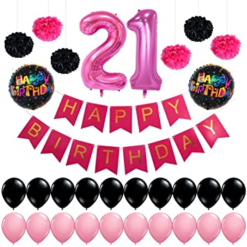 Girl 21st Birthday Decorations Pack 40inch Pink Number 21 Balloon Happy Banner Flag Garland 18