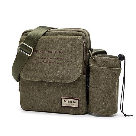 82490180558 Leegoal Vintage Canvas Shoulder Bag, Multifunctional Mens Small Retro  Messenger Bag Leisure Bag with Removable