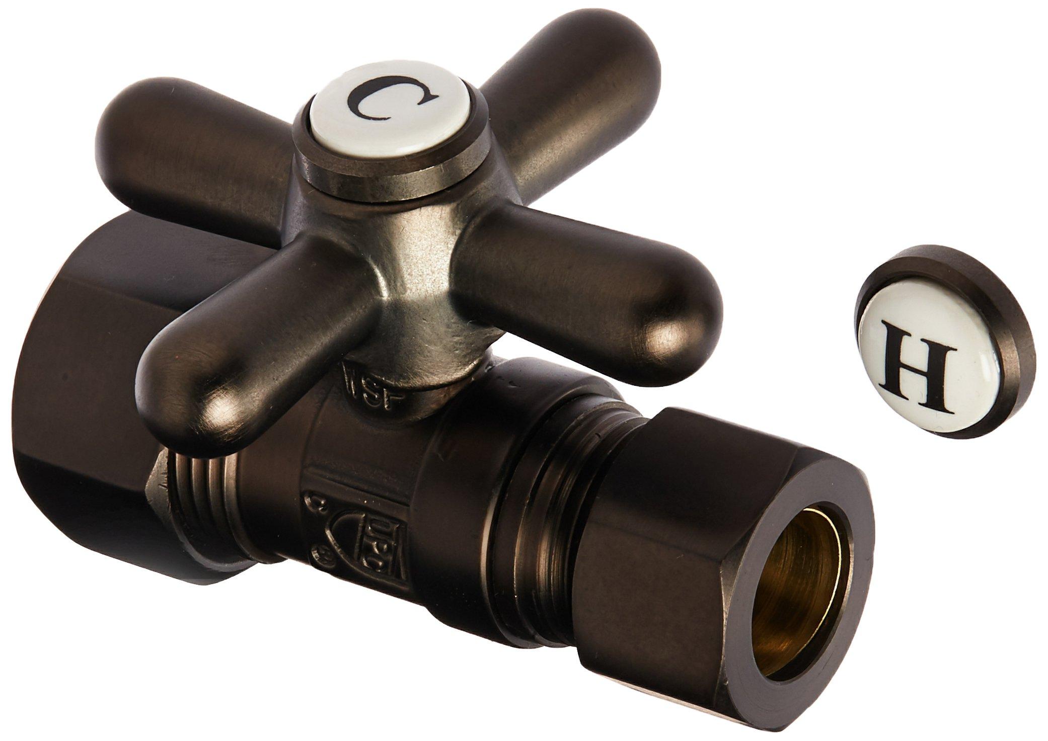 Kingston Brass CC44455X Vintage 5/8-Inch OD x 1/2-Inch OD Compression Straight Stop Valve, Oil Rubbed Bronze