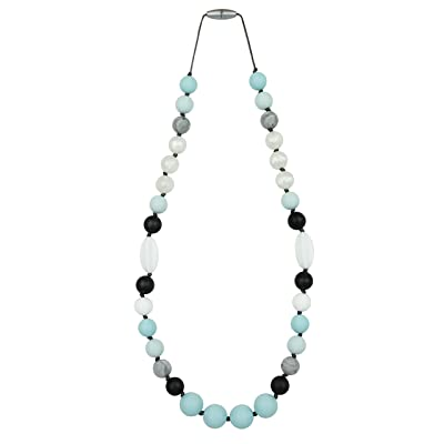 Itzy Ritzy Teething Happens Silicone Assorted Bead Necklace, Aqua Daydream : Baby