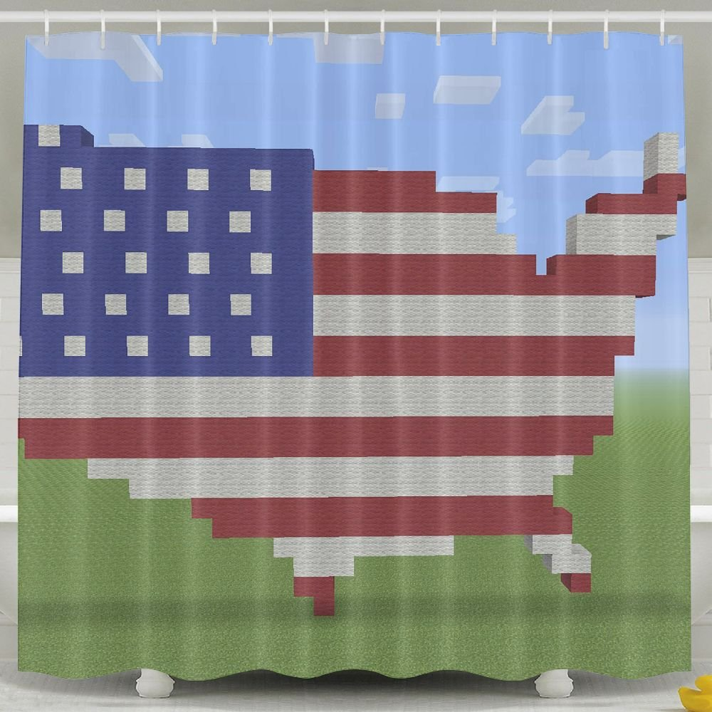 BINGO FLAG Funny Fabric Shower Curtain Flag Map Waterproof Bathroom Decor With Hooks 60 X 72 Inch
