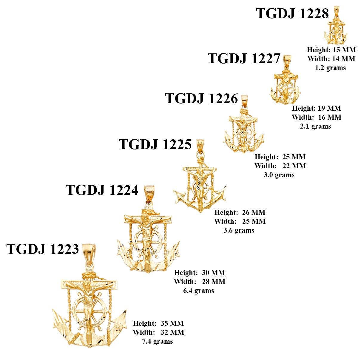 Solid 14k Yellow Gold Jesus Cross Mariner Charm Anchor Crucifix Pendant 6 Sizes (TGDJ-1227)