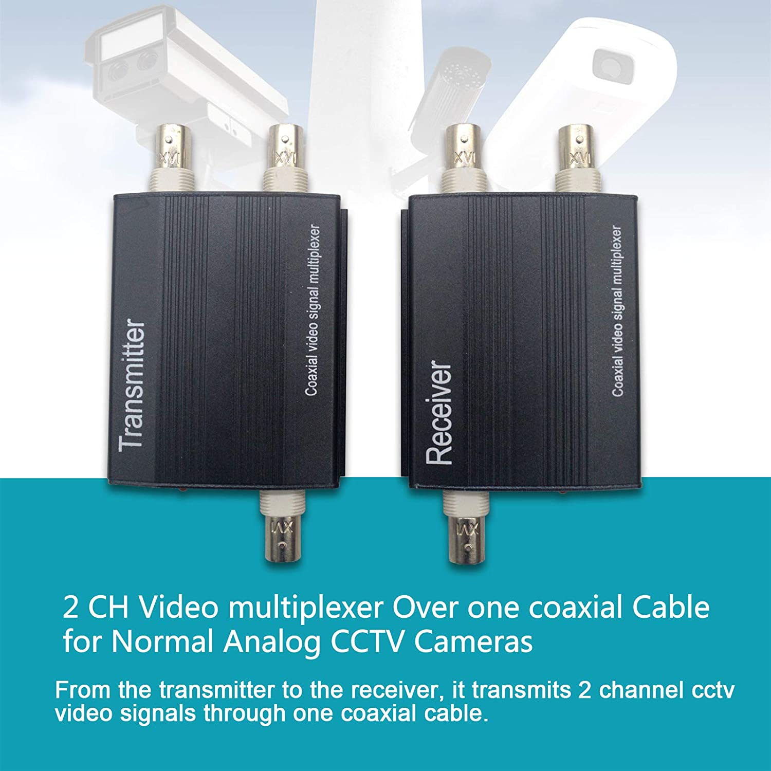 2X 2 Channel Video Multiplexer Transmitter and Receiver for CCTV SECURITY CAMERA