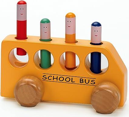 LINE Push Wooden School Bus Toy