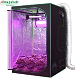 """Amagabeli Hydroponic 4x4 Grow Tent for Indoor Plant Growing 48""""x48""""x80"""" with Removable Floor Tray Reflective Mylar Adjustable Rope Hangers Observation Window Tool Bag Room Box Vegetable Seedling Kit"""