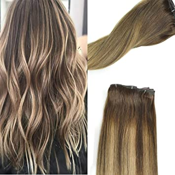 Koconi 20inch Human Hair Clip In Extensions Blonde Dark Brown Rooted To Lightest Brown With