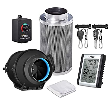 """iPower 4 Inch 150 CFM Inline Carbon Filter with Fan Speed Controller and Temperature Humidity Monitor Grow Tent Ventilation, 4"""", Black"""