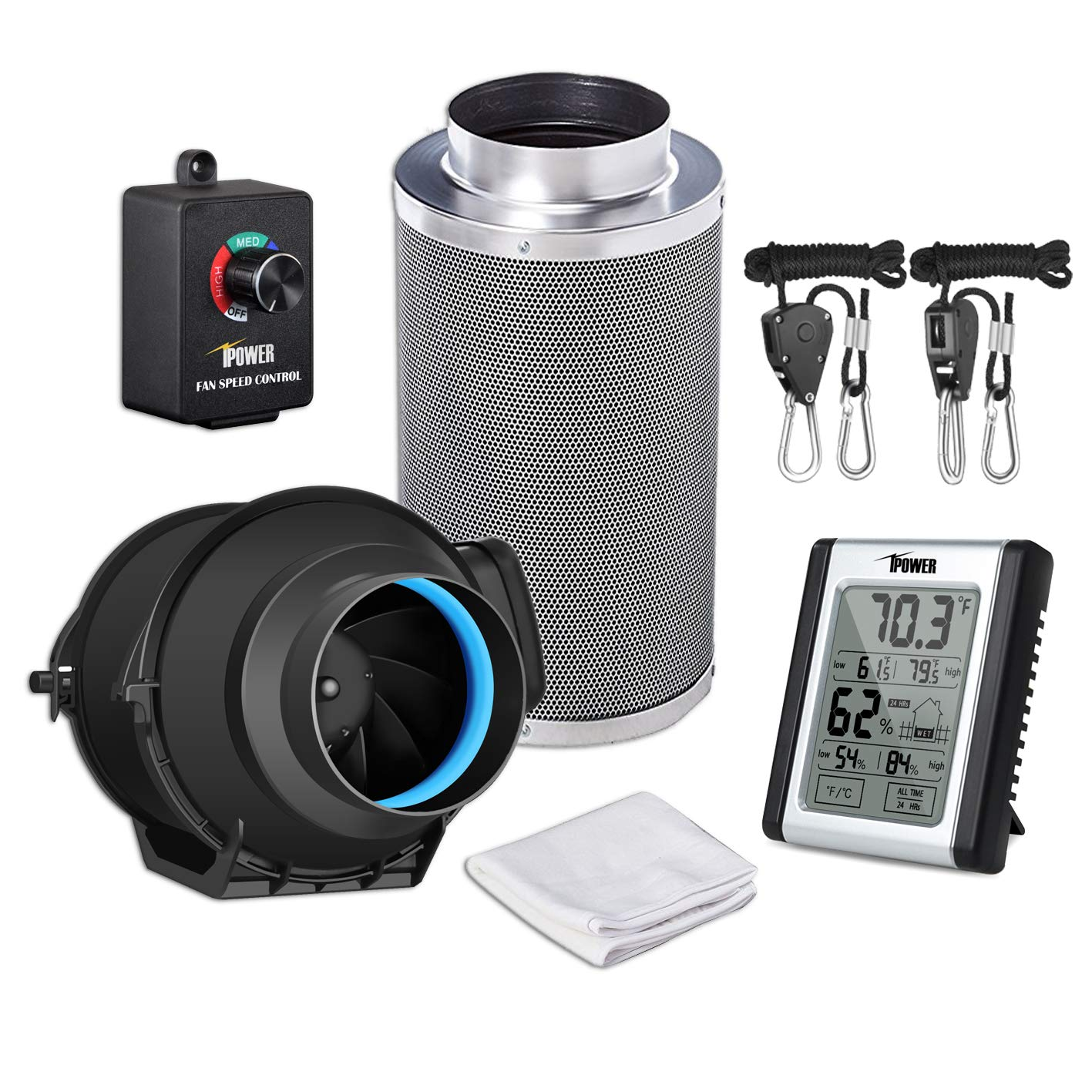 iPower GLFANXEXPSET4CHUMD 4 Inch 150 CFM Inline Carbon Filter with Fan Speed Controller and Temperature Humidity Monitor Grow Tent Ventilation, 4'', Black
