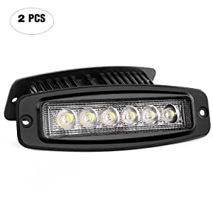Nilight NI-28E-18W 2PCS 18W Spot Work Driving Bar Off Road Led Lights Flush Mount for Jeep, 2 Years Warranty